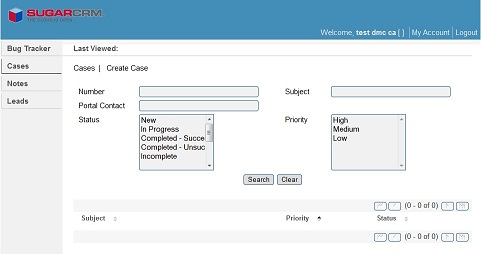 Cases tab in SugarCRM portal